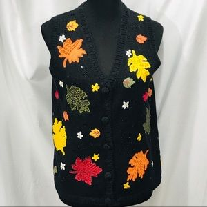 Basic Editions Black & Fall Colors Sweater Vest